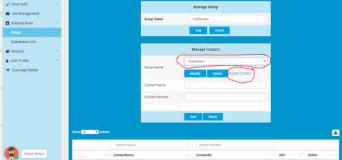 7 Select Group and Click Import Contact